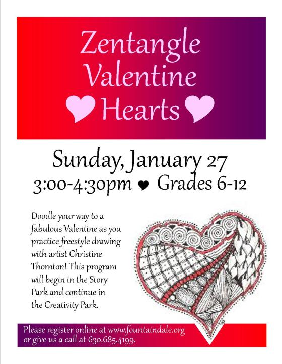 Zentangle Valentine Hearts Jan 2013