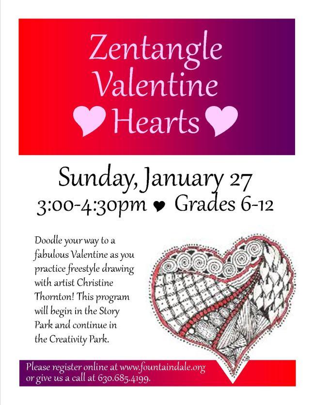 Zentangle Valentine Hearts Jan 2013