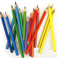 thick colored pencils on white background, isolated
